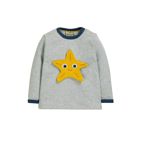 Frugi Button Off Applique Top - Grey Marl/Sea Friend-Long Sleeves- Natural Baby Shower