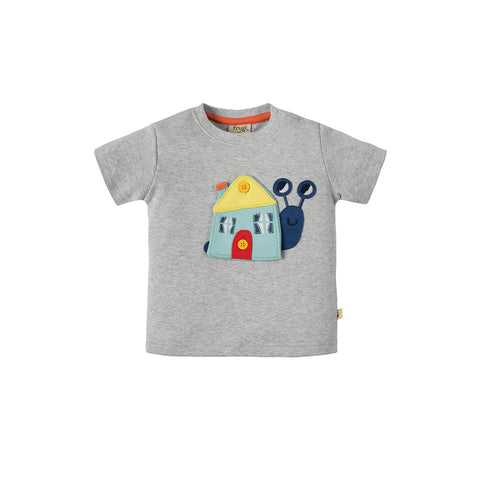 Frugi Button Off Applique Top - Grey Marl/Snail-Short Sleeves- Natural Baby Shower