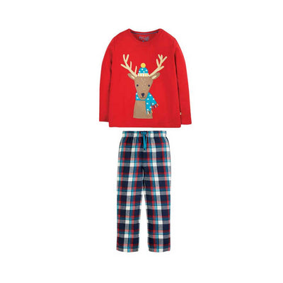 Frugi Caden Check Pjs - Tango/Reindeer-Pyjamas- Natural Baby Shower