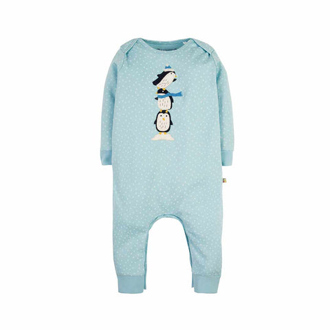 Frugi Charlie Romper - Sky Blue Scatter Spot/Penguin-Rompers- Natural Baby Shower