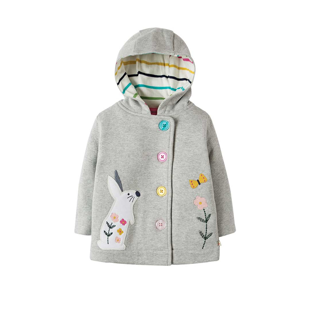 Frugi Cosy Button Up Jacket - Grey Marl/Bunny-Coats & Snowsuits- Natural Baby Shower