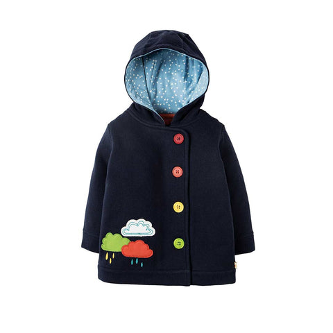 Frugi Cosy Button Up Jacket - Navy/Rainclouds-Coats & Snowsuits- Natural Baby Shower