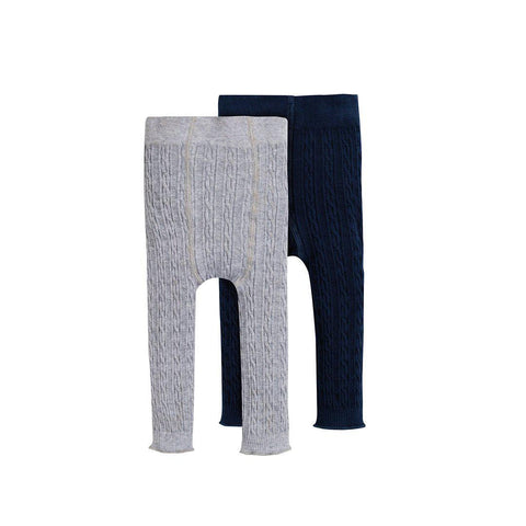Frugi Cosy Cable Leggings - Grey Marl/Space Blue - 2 Pack-Tights- Natural Baby Shower