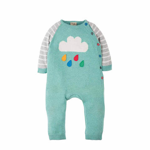 Frugi Cosy Knitted Romper - Aqua/Cloud
