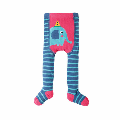 Frugi Crawl Away Tights - Blue Stripe/Elephant