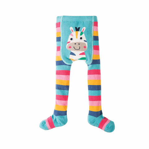 Frugi Crawl Away Tights - Rainbow Stripe/Zebra