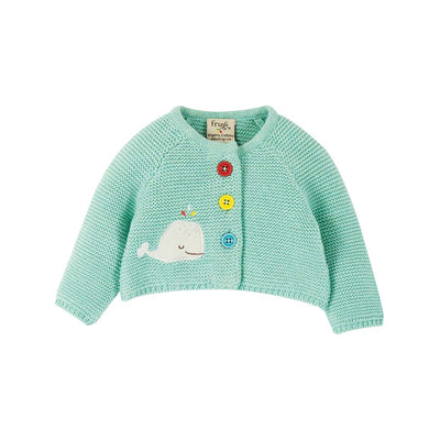 Frugi Cute as a Button Cardigan - Light Aqua/Whale-Cardigans- Natural Baby Shower