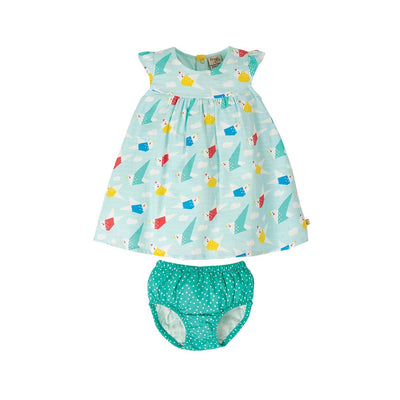 Frugi Dolly Muslin Outfit - Aqua Origami-Clothing Sets- Natural Baby Shower