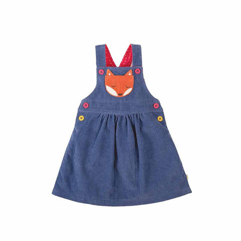 Frugi Doris Dungaree Dress - Blue Lake/Fox