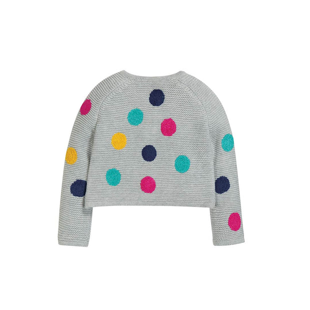 Frugi Emilia Embroidered Cardigan - Grey Marl/Multi Spot-Cardigans- Natural Baby Shower