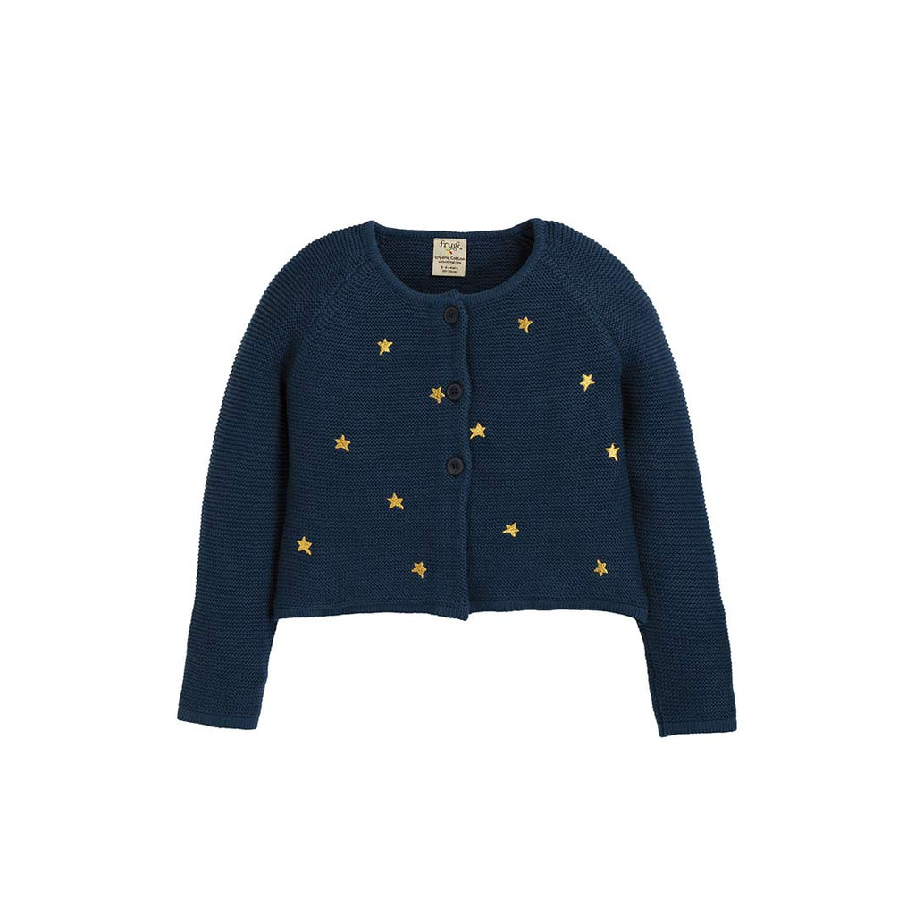 Frugi Emilia Embroidered Cardigan - Space Blue/Stars-Cardigans- Natural Baby Shower