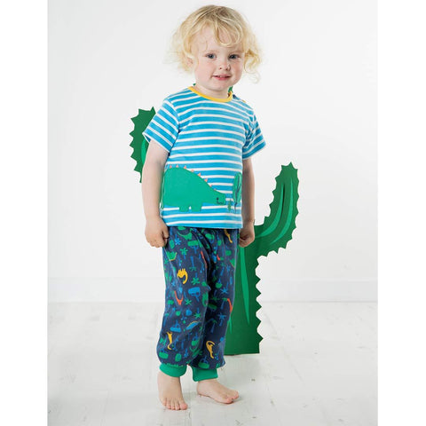 Frugi Felix Wrap Around Top - Sky Breton/Dino-Short Sleeves- Natural Baby Shower