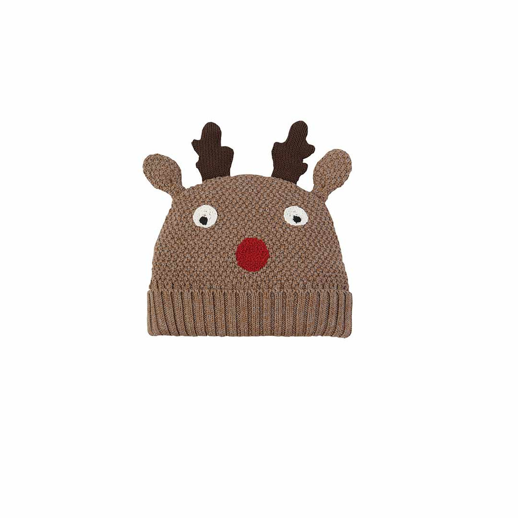 Frugi Friendly Face Knitted Hat - Walrus Brown/Reindeer-Hats- Natural Baby Shower