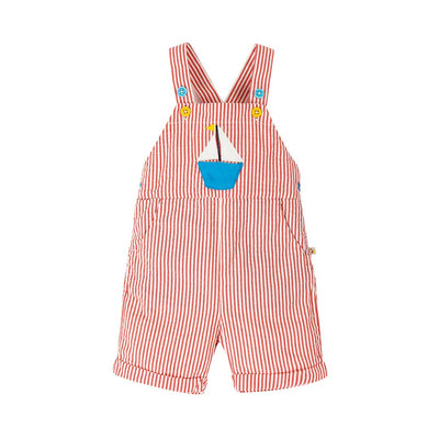 Frugi Godrevy Dungarees - Koi Red Seersucker-Dungarees- Natural Baby Shower