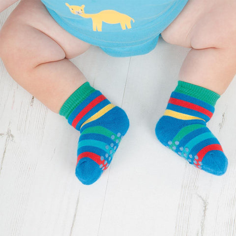 Frugi Grippy Socks - Rainbow - 2 Pack Lifestyle