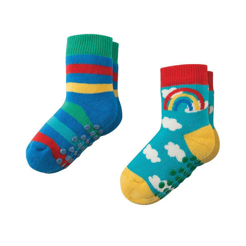 Frugi Grippy Socks - Rainbow - 2 Pack