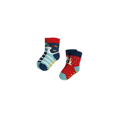Frugi Grippy Socks - Tractor Mulitpack - 2 Pack-Socks- Natural Baby Shower