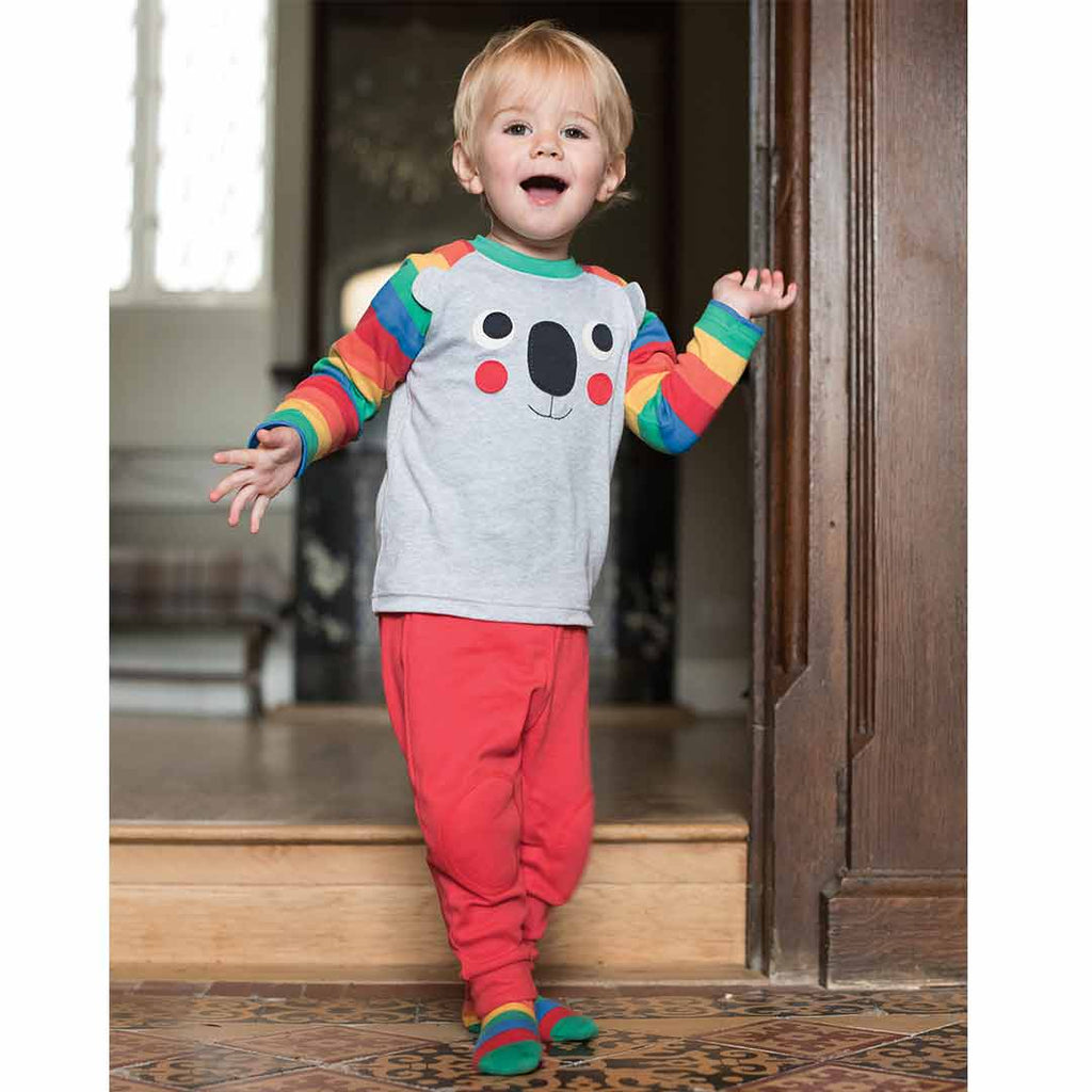 Frugi Happy Raglan Top - Grey Marl/Koala Lifestyle