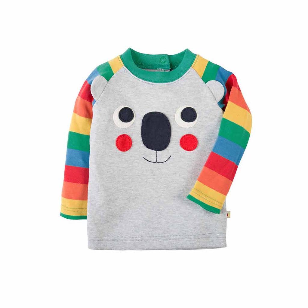 Frugi Happy Raglan Top - Grey Marl/Koala