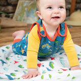 Frugi Kneepatch Dungarees - Jurassic Lands-Dungarees- Natural Baby Shower