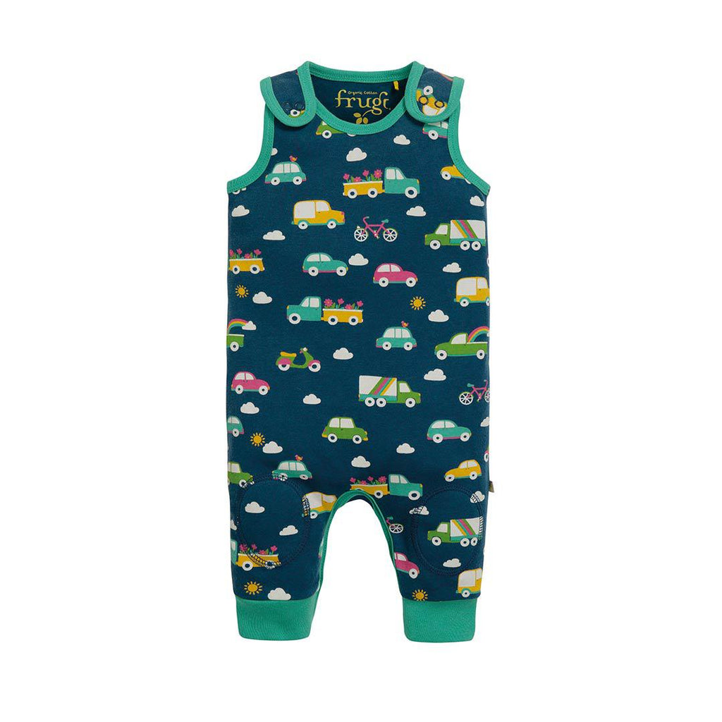 Frugi Kneepatch Dungarees - Space Blue Rainbow-Dungarees- Natural Baby Shower