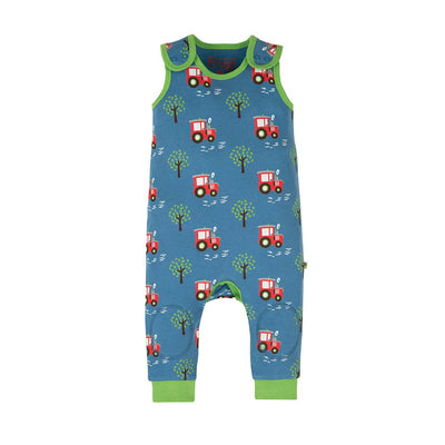 Frugi Kneepatch Dungarees - Tractor Fields-Dungarees- Natural Baby Shower