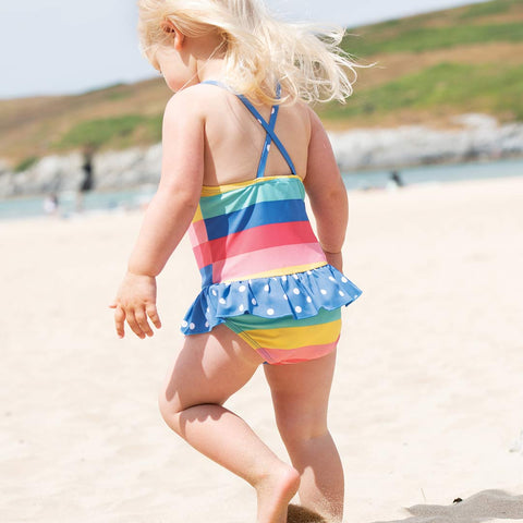 Frugi Little Coral Swimsuit - Bright Rainbow Stripe-Swimwear- Natural Baby Shower