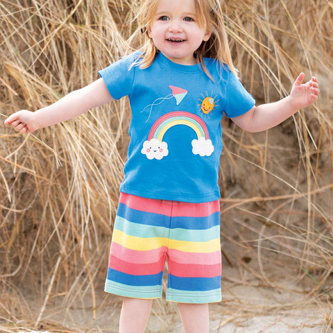 Frugi Little Creature Applique Top - Sail Blue/Rainbow-Short Sleeves- Natural Baby Shower