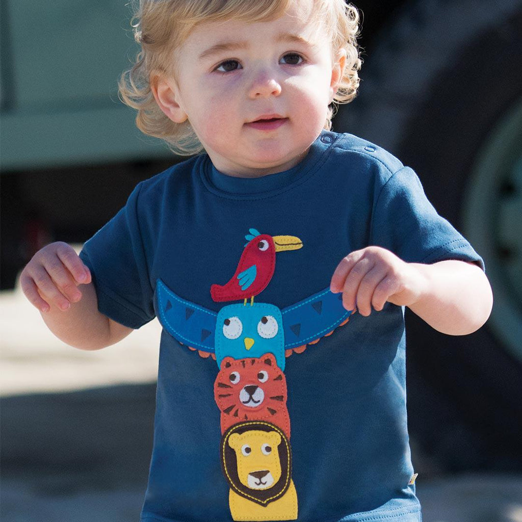 Frugi Little Creature Applique Top - Soft Navy/Totem Lifestyle