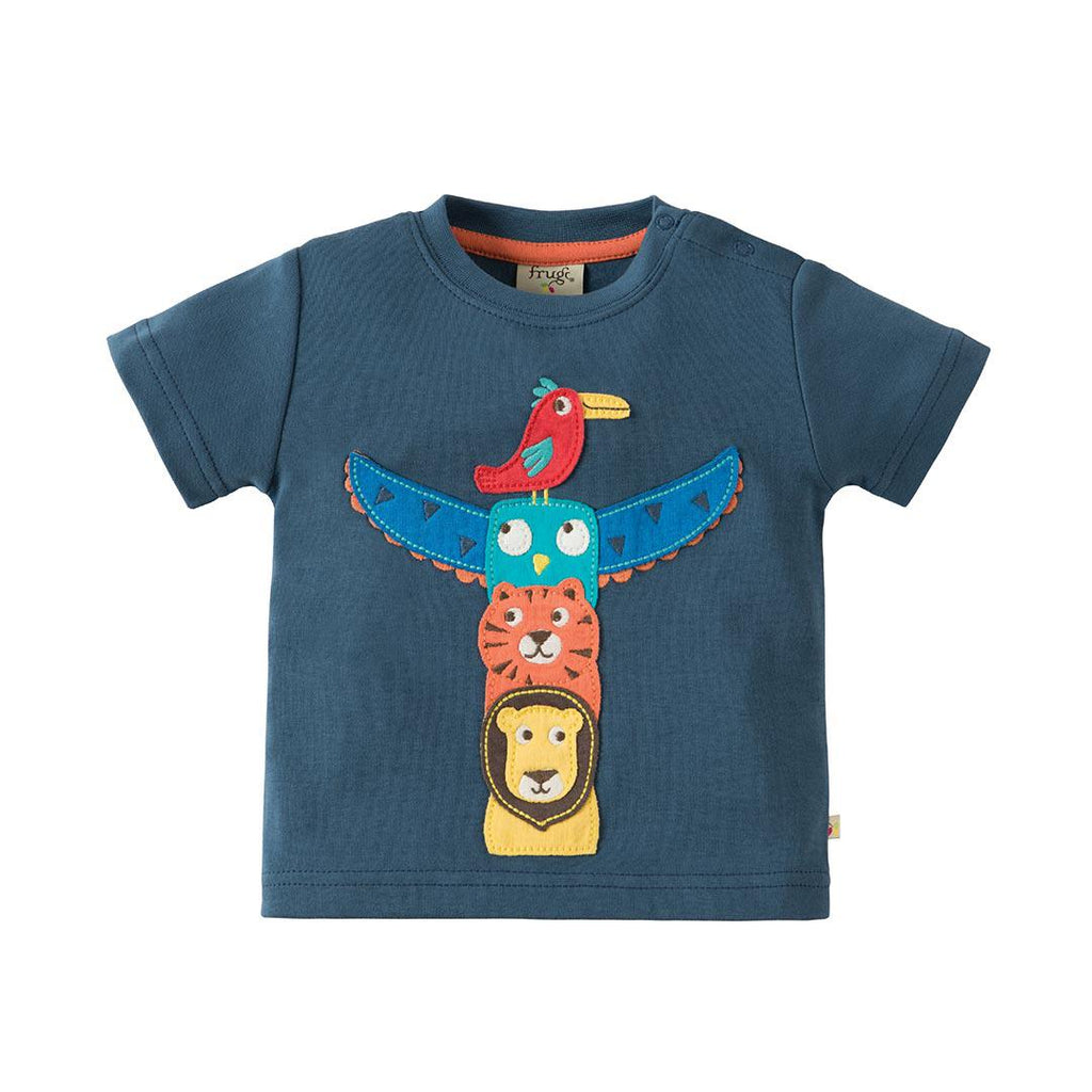 Frugi Little Creature Applique Top - Soft Navy/Totem