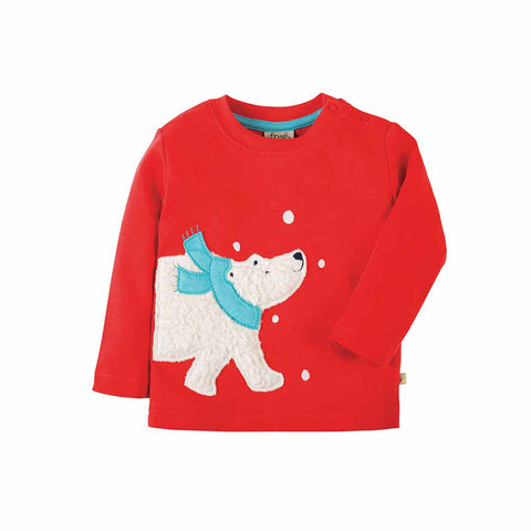 Frugi Little Discovery Applique Top - Tomato/Polar Bear-Long Sleeves- Natural Baby Shower