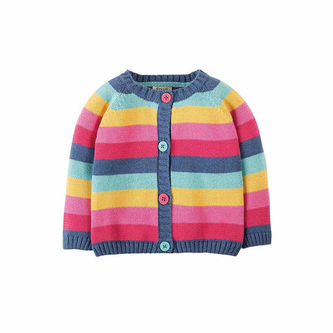 Frugi Little Happy Day Cardigan - Pink Rainbow Stripe