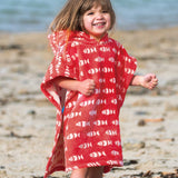 Frugi Little Havana Hooded Towel - Tomato Fish-Towels & Robes- Natural Baby Shower