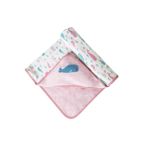 Frugi Little Hug Hooded Blanket - Little Whale