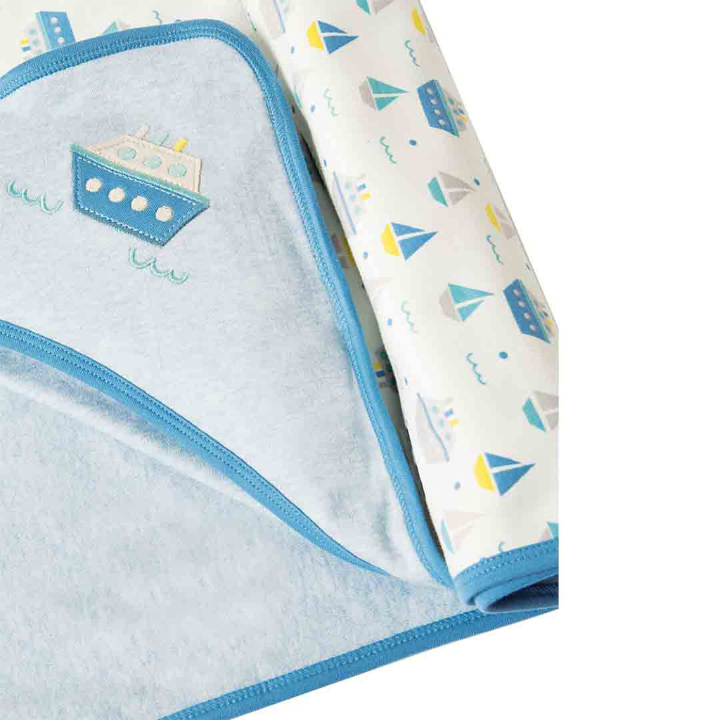 Frugi Little Hug Hooded Blanket - Summer Seas-Blankets- Natural Baby Shower