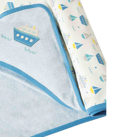 Frugi Little Hug Hooded Blanket - Summer Seas Detail