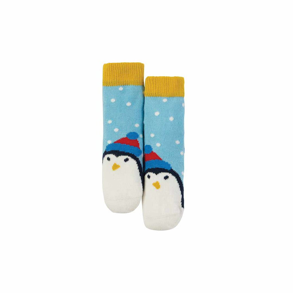 Frugi Little Perfect Pair Socks - Sky Blue Scatter Spot/Penguin-Socks- Natural Baby Shower