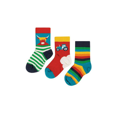 Frugi Little Socks - Tractor - 3 Pack-Socks- Natural Baby Shower