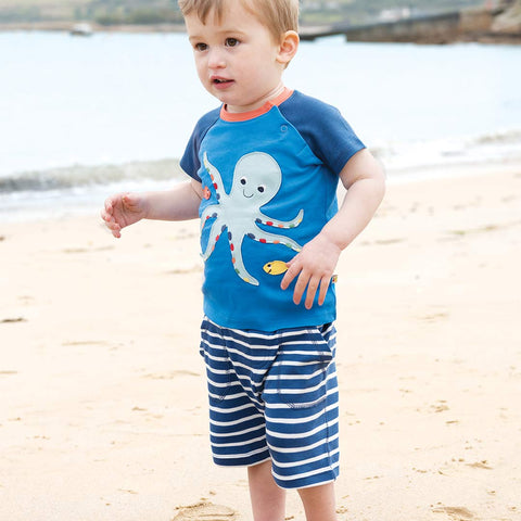 Frugi Little Stripy Shorts - Marine Blue Breton-Shorts- Natural Baby Shower