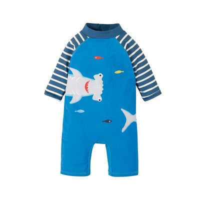 Frugi Little Sunsafe Suit - Blue/Shark-Swimwear- Natural Baby Shower