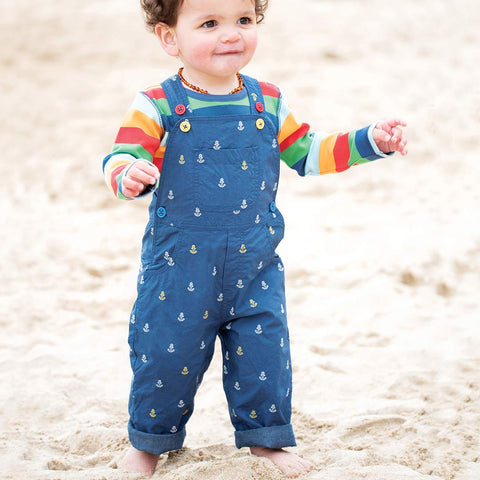 Frugi Little Tom Dungarees - Marine Blue Anchor-Dungarees- Natural Baby Shower