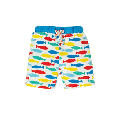 Frugi Little Towelling Shorts - Rainbow Fish-Shorts- Natural Baby Shower