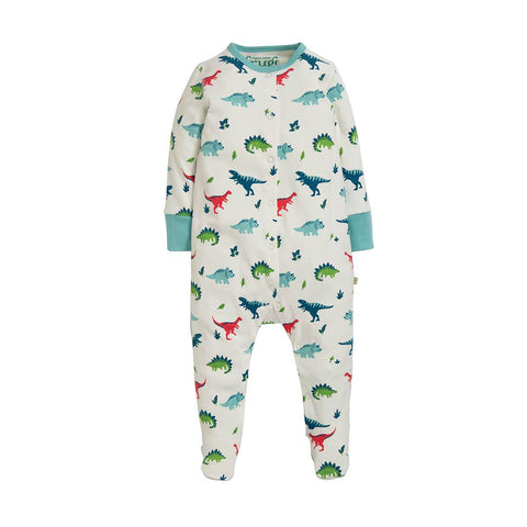 Frugi Lovely Babygrow - Aqua Dino Field-Rompers- Natural Baby Shower