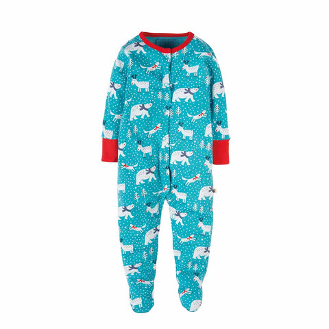 Frugi Lovely Babygrow - Aqua Snowscape