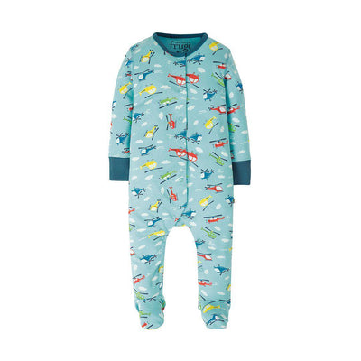 Frugi Lovely Babygrow - Bright Sky Helicopter-Rompers- Natural Baby Shower