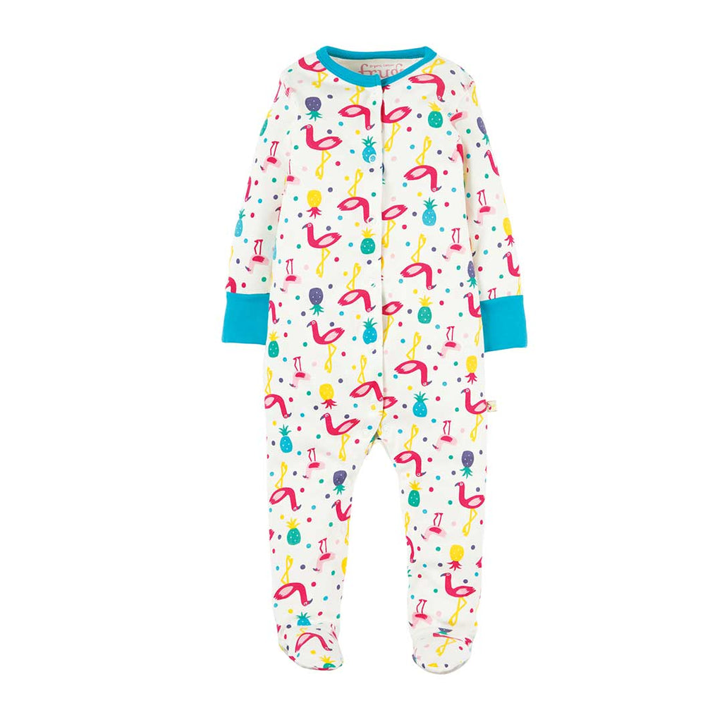 Frugi Lovely Babygrow - Flamingo Party