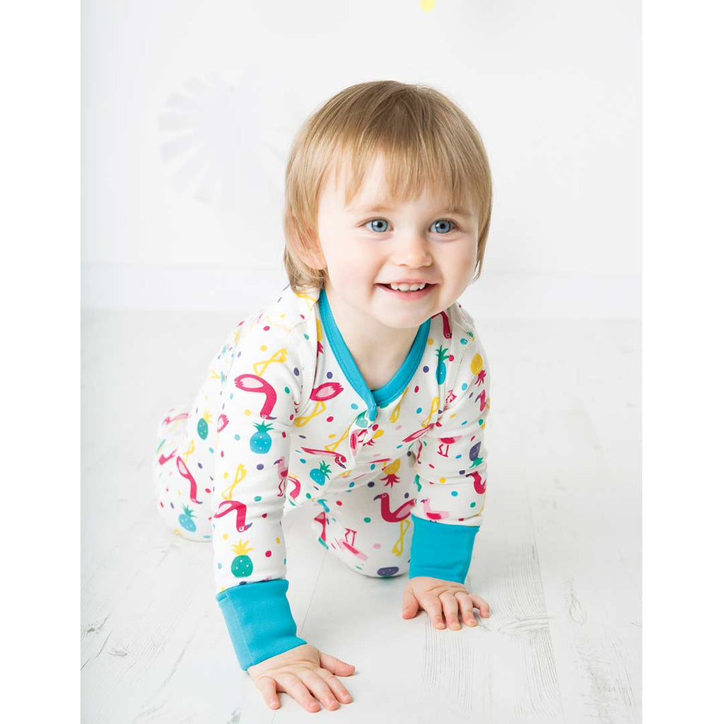 Frugi Lovely Babygrow - Flamingo Party 3
