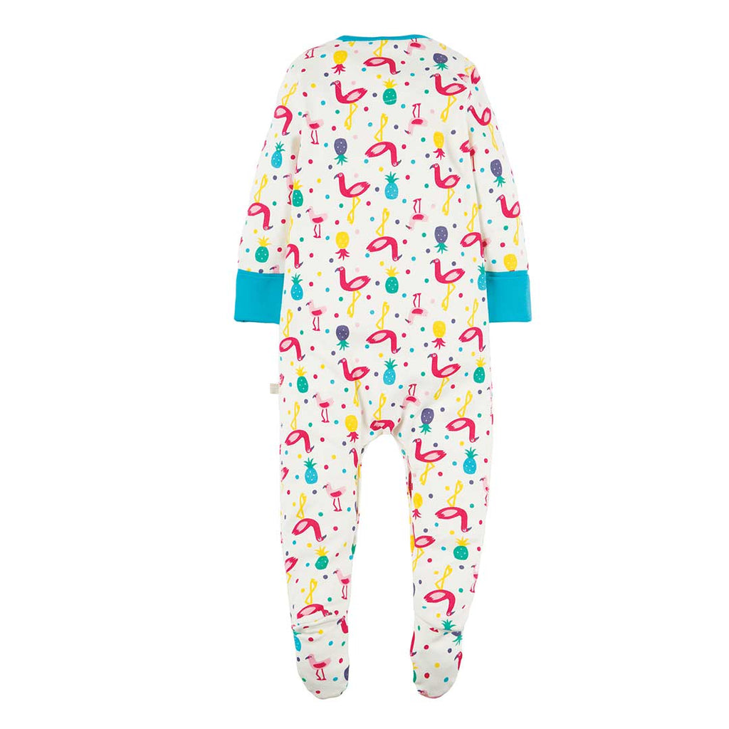 Frugi Lovely Babygrow - Flamingo Party 1
