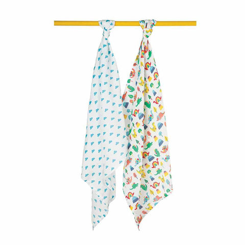 Frugi Lovely Muslins - Clouds/Dinos - 2 Pack