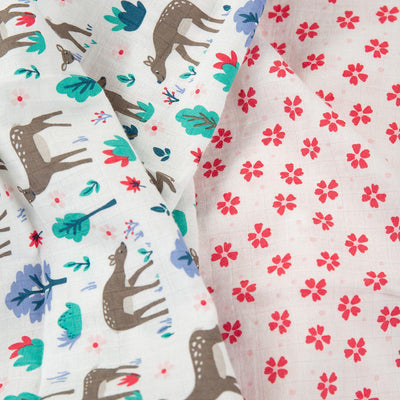 Frugi Lovely Muslins - Deer Multi - 2 Pack-Muslin Squares-Deer Multi- Natural Baby Shower